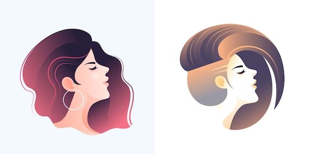 Boczna twarz dwóch młodych uroczych dziewczyn z różnymi nowoczesnymi fryzurami