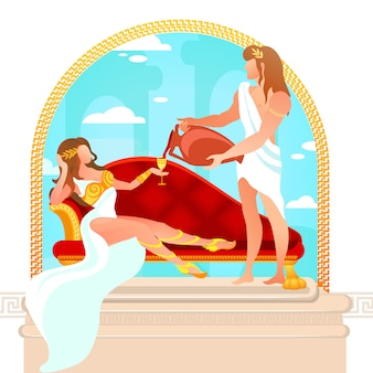 Bóg dionizos wlewając wino do afrodyty bogini