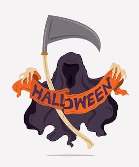 Bóg śmierci trzyma w kościanych dłoniach wstążkę ze słowami halloween.
