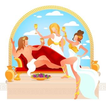 Bóg wina dionizosa lub bachusa proponujący toast