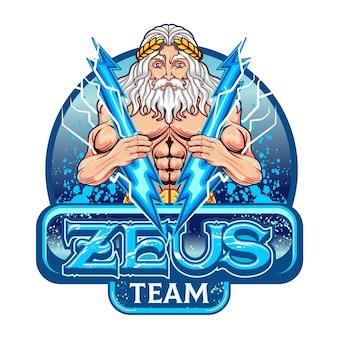 Bóg Zeus, Który Symbolizuje Zwycięstwo Premium Wektorów
