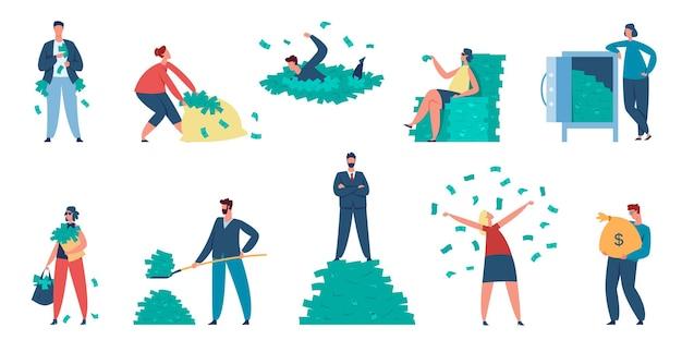 Bogaci ludzie, postacie milionerów z gotówką i workami na pieniądze. zamożni mężczyźni i kobiety rzucają banknoty, stojąc na zestaw wektor stos dolara. ludzie biznesu zarabiający fortunę, dochód