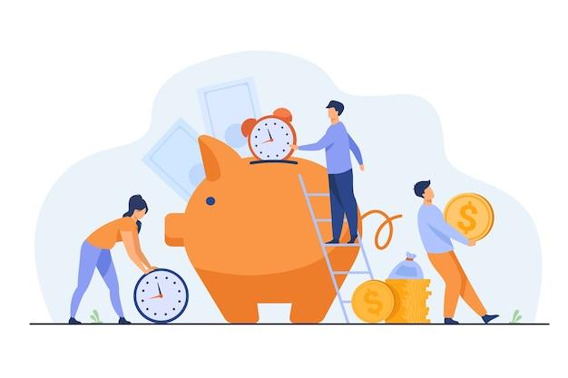 Bogaci ludzie przechowujący gotówkę i zegary w skarbonce. ilustracja wektorowa na czas to pieniądze, biznes, zarządzanie czasem, koncepcja bogactwa