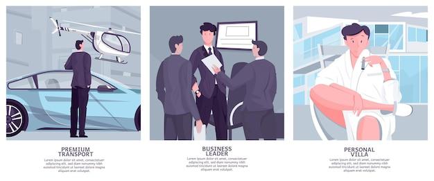 Bogaci milionerowie zestaw płaskich ilustracji z ludzkimi postaciami liderów biznesu