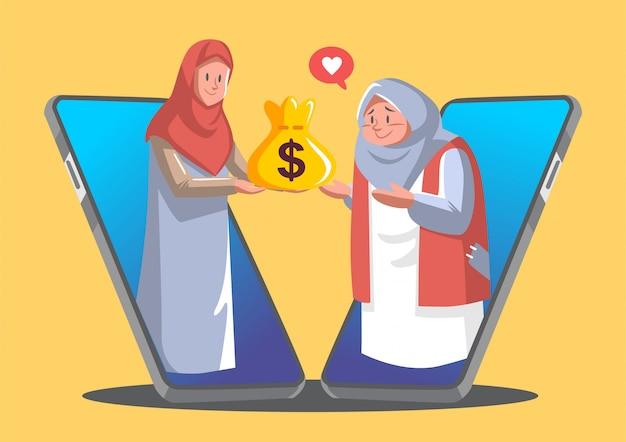 Bogata kobieta z hidżabu daje pieniądze biednej kobiecie.