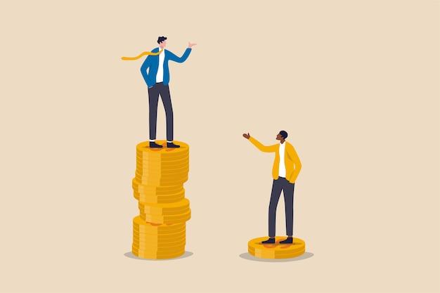 Bogata nierówność gospodarcza i ubogi dochód niesprawiedliwości luki