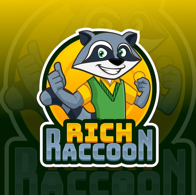 Bogate logo maskotki raccon