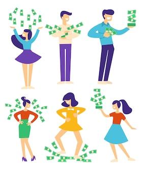 Bogate postacie rzucające banknotami, szczęśliwi ludzie ze stertą pieniędzy. wygranie na loterii lub uzyskanie pożyczki, świętowanie sukcesu w pracy. wynagrodzenie lub pensje, kaucja i dochód. wektor w stylu płaskiej