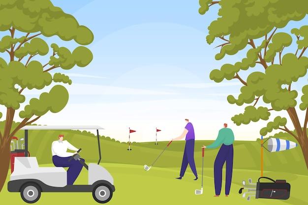 Bogate rozrywki postaci ludzi grają razem w golfa