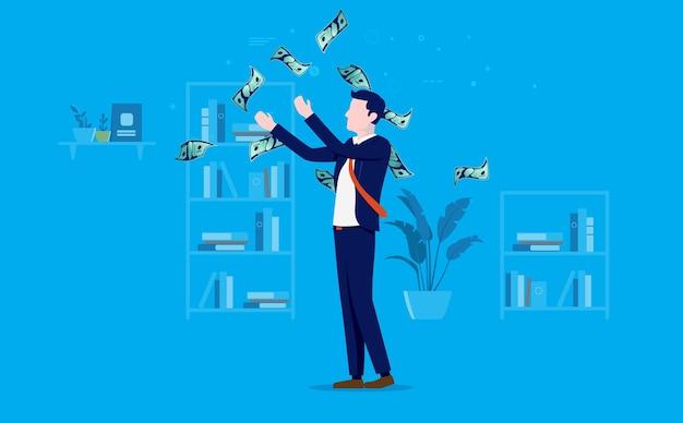 Bogaty i odnoszący sukcesy biznesmen wyrzucający pieniądze w powietrze