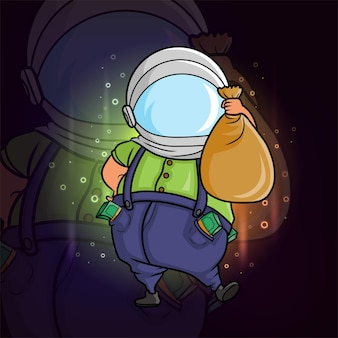 Bogaty mały chłopiec z pieniędzmi i używając hełmu astronauty z ilustracji