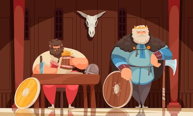 Bogaty posiłek wikingów w drewnianym wnętrzu domu ozdobionym uzbrojoną bronią czaszkową