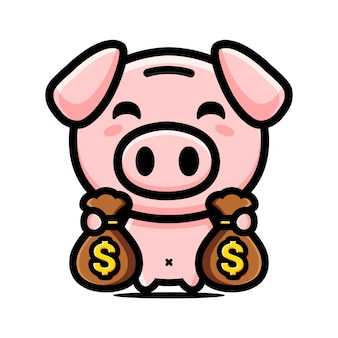 Bogaty projekt postaci maskotki świni