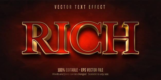 Bogaty tekst, czerwony kolor i błyszczący edytowalny tekst w złotym stylu