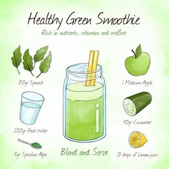 Bogaty w składniki odżywcze zielony przepis na smoothie