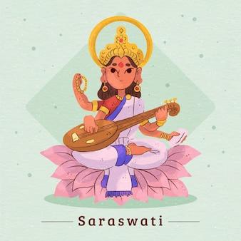 Bogini Saraswati Gra Na Instrumencie Muzycznym Darmowych Wektorów