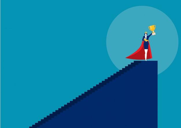 Bohater kobiety matka robi pracie biurowej i pracie domowej samotnie. super mama wektor