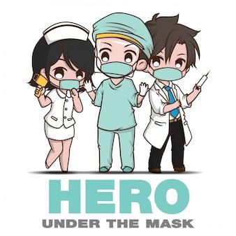 Bohater pod maską., postaci z kreskówek i personel medyczny., sytuacja covid 19.