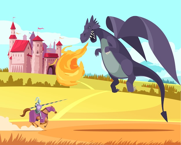 Bohater rycerz jeździec walczący z dzikim ogromnym dzikim smokiem przed średniowiecznym królestwem kreskówki z zamku