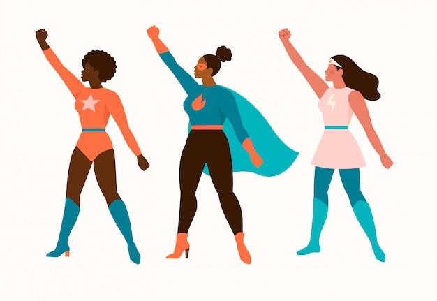 Bohaterki bohaterów kobiet. super dziewczyny kreskówka na białym tle.