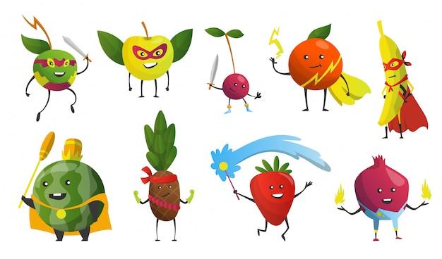 Bohaterowie kreskówek. owoce w maskach i pelerynach. śliczne dziecinne postaci z kreskówek w kostiumach w różnych pozach. śmieszne postacie z kreskówek. pojęcie zdrowej diety. ilustracja
