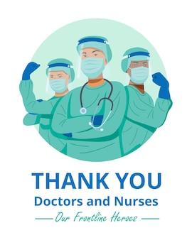 Bohaterowie pierwszej linii, ilustracja postaci lekarzy i pielęgniarek w maskach. wektor