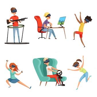 Bohaterowie rzeczywistości wirtualnej, kask vr śmieszni ludzie grający w wirtualny zestaw słuchawkowy okulary gracze wideo, maskotka w stylu kreskówkowym