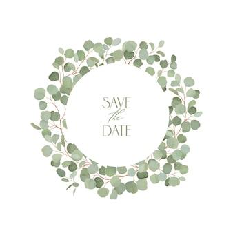 Boho eukaliptusa kwiatowy wesele rama wektor. akwarela tropikalna zieleń oddziałów obramowania szablonu na ceremonię ślubną, minimalna wiosna zaproszenia, ozdobny letni baner