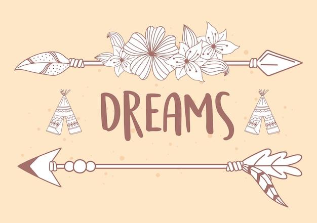 Boho i plemienne marzenia strzały ilustracja dekoracji rodzimych kwiatów