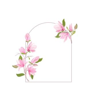 Boho kwiat magnolii akwarela szablon, rama kwiatowy ślub. karta z pozdrowieniami wektor zaproszenie. nowoczesny pastelowy wzór botaniczny z kwiatami, liśćmi, kwiatami