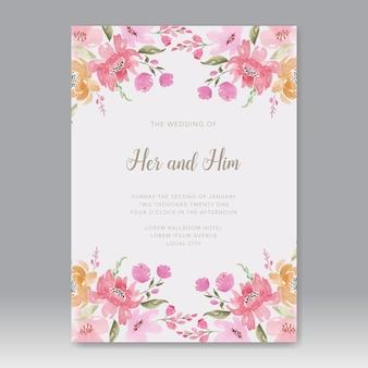Boho kwiatowy akwarela na zaproszenie na ślub