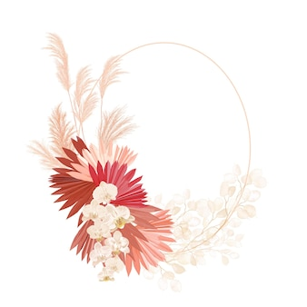 Boho kwiatowy wesele rama wektor. akwarela pampasowa trawa, kwiaty orchidei, suche liście palmowe obramowanie szablonu na ceremonię ślubną, minimalne zaproszenie, ozdobny baner letni