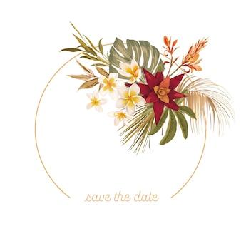 Boho kwiatowy wesele rama wektor. akwarela tropikalne kwiaty, orchidea, suche liście palmowe szablon granicy ceremonii ślubnej, minimalne zaproszenie, wieniec dekoracyjny, baner letni