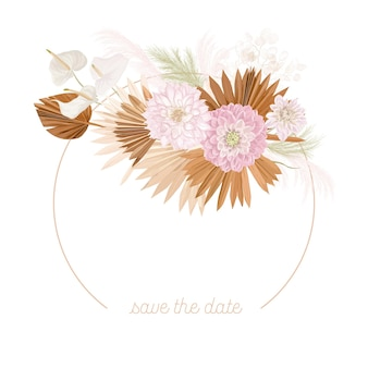 Boho kwiatowy wesele wektor rama. akwarela pampasowa trawa, kwiaty dalii, suche liście palmowe szablon granicy na ceremonię ślubną, minimalne zaproszenie, ozdobny letni baner