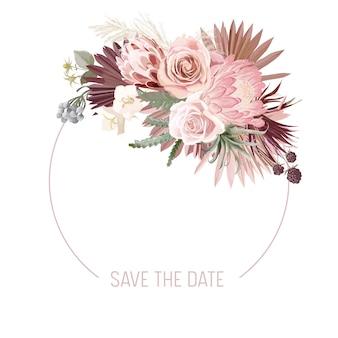 Boho kwiatowy wesele wektor rama. akwarela pampasowa trawa, protea, kwiaty orchidei, suche liście palmowe obramowanie szablonu ceremonii ślubnej, minimalne zaproszenie, ozdobny baner letni