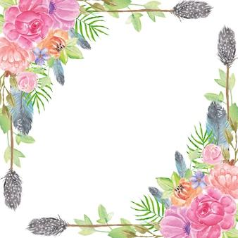 Boho lato akwarela kwiaty tło