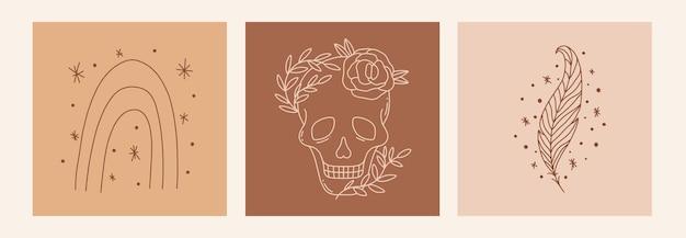 Boho mistyk doodle z tęczą, czaszką, piórkiem i gwiazdami