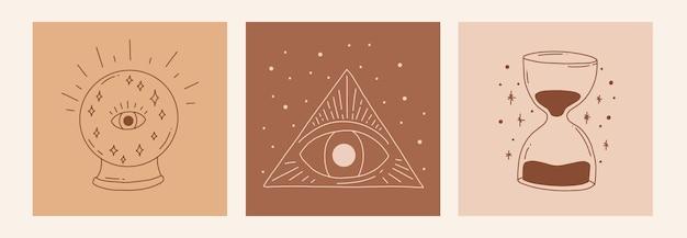 Boho mistyk doodle zestaw ezoteryczny. magiczny plakat artystyczny z piłką szczęścia, klepsydrą, okiem, trójkątem. czeska nowoczesna ilustracja wektorowa