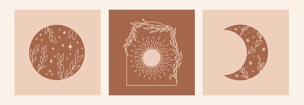 Boho mistyk doodle zestaw ezoteryczny. magiczny plakat artystyczny ze słońcem, liśćmi, księżycem i gwiazdami. czeska nowoczesna ilustracja wektorowa