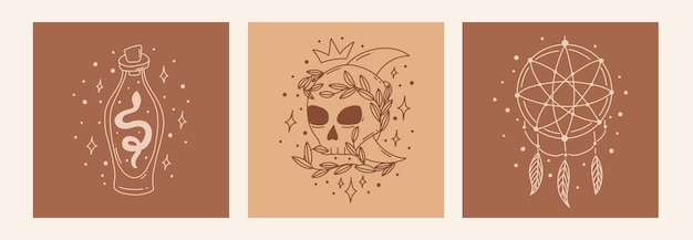 Boho mystic doodle ezoteryczny zestaw magic line art plakat z czaszką butelki z trucizną łapacza snów