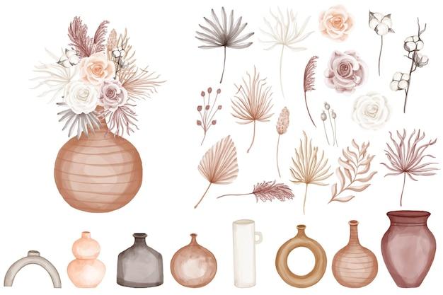 Boho na białym tle akwarela róża kwiat z wazonem clipart