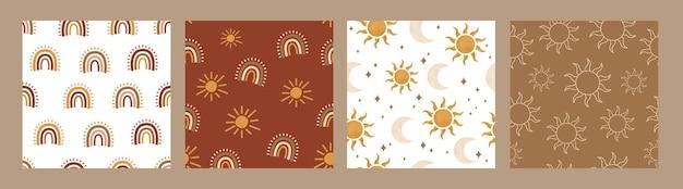Boho nowoczesny słońce księżyc tęczowy wzór na tkaniny lniane plakaty wystrój i media społecznościowe
