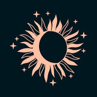 Boho słońce z księżycem i gwiazdami