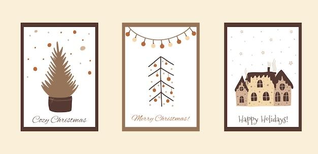 Boho świąteczny zestaw kart w ładnym stylu doodle