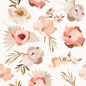 Boho wzór z kwiatami i liśćmi