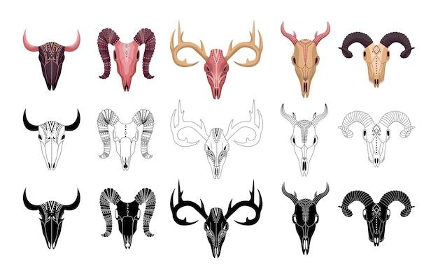 Boho zestaw zwierzęcych czaszek z geometrycznymi wzorami. konturowy, płaski i prosty styl