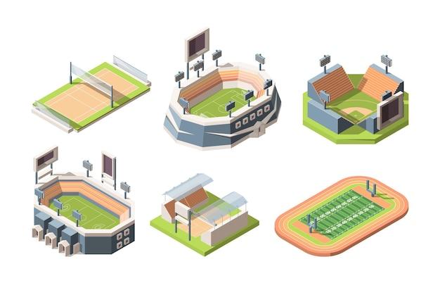 Boiska sportowe, zestaw ilustracji izometrycznych stadionów. kort tenisowy, boisko do koszykówki i hokeja, boisko do piłki nożnej, futbolu amerykańskiego i baseballu. areny lekkoatletyczne na białym tle