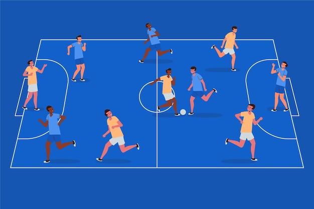 Boisko do futsalu z ilustracjami graczy
