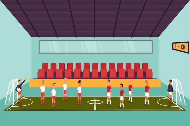 Boisko do futsalu z zawodnikami