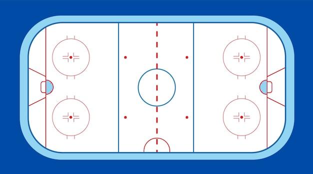 Boisko do hokeja na lodzie z krążkiem i kijem. sporty zimowe na lodzie. stadion z oznaczeniami i łyżwami.